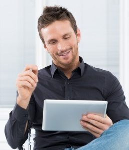 internet marketer on computer